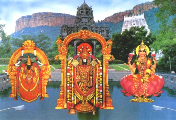 Bigger version of the classic image of Lord Balaji with his consorts against the backdrop of scenic Tirumala.