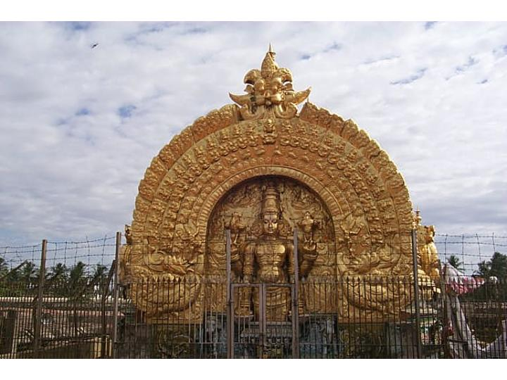 The golden Vimanam of Srirangam Temple